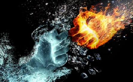 Image of fists made of water and ice.