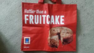 "Red bag labelled ""Nuttier than a Fruitcake"""