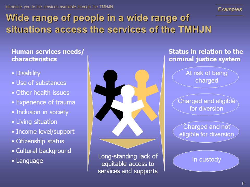 Wide range of people in a wide range of situations access the services of the TMHJN